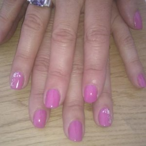 Shellac hot pop pink + konad (transferring design from one stamped to another to get mirror image for other hand)
