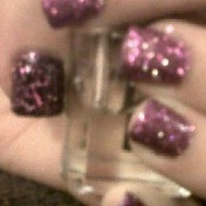 fibreglass nails with nails inc glitter poilsh and barry m crackle on thumb