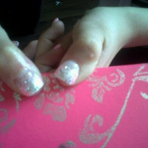 white tip acrylics Thumbs - pearl/rhinestones, pink and silver glitter flicks