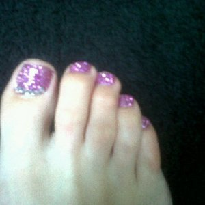 Twinkle Toes pink glitter with clear rhinestones along cuticle area