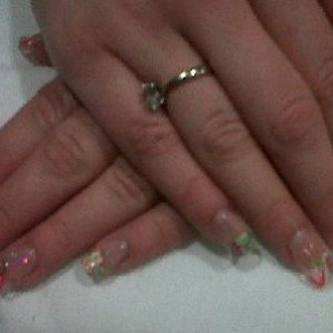 tutti fruiti uv gel sculptured nails close up - clear gel encapsulating fruity fimo slices