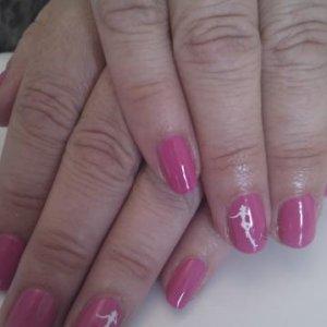 Shellac hot pop pink + konad & gems