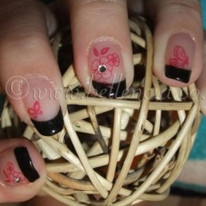 Black pool and Negligee Shellac French Manicure with Red Baroness Konad and Crsytals