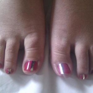 Minx pink with silver stripe