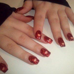 full red glitter valentines acrylics