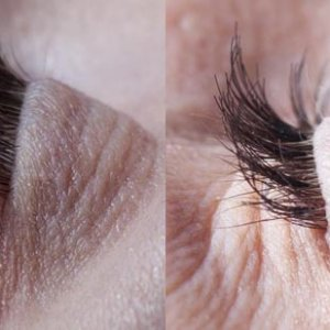 before and after set of week-end lashes