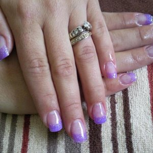 Acrylic with Purple glitter Tips
