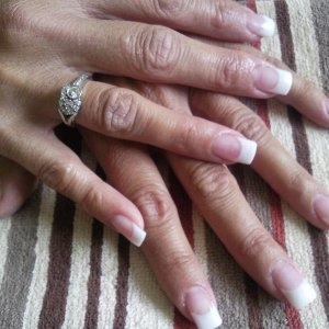 Acrylic with Shimmer white tips