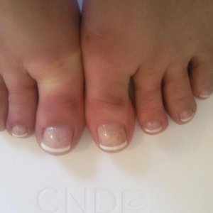 Shellac Beau with Cream Puff and Mother of Pearl over big toes