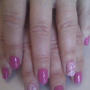 Shellac hot pop pink + konad white + gems