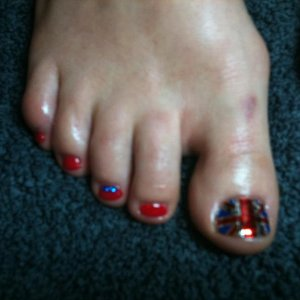Union Jack Minx with Shellac Wildfire and a few sapphire blue diamantes for good measure - Royal wedding toes for a patriotic client!