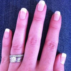 French manicure using Simply Sheer and Sheek White