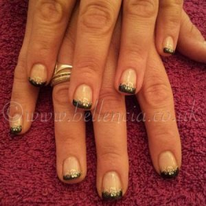 Negligee and Black Pool French Shellac with White Konad Nail Art