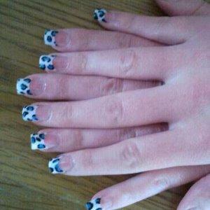 Blue Leopard print tips