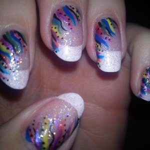 Rainbow pattern on french manicure ... one of my favourites :)