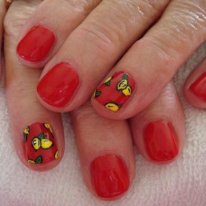 Wildfire & Lemon Nail Art  Please excuse the crappy application, it's definitely not my best! haha