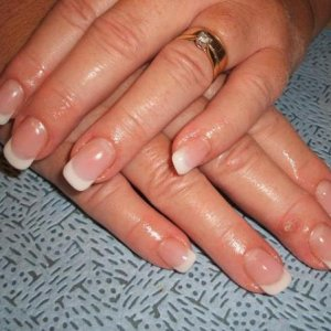 warm coverage gel with ultra french white gel