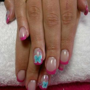 CB L&P sculpts with freehand nail art to match dress