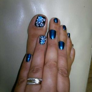CND Colour and effects with freehand nail art. Inkwell with Ice blue shimmer and Sapphire sparkle effect lush!