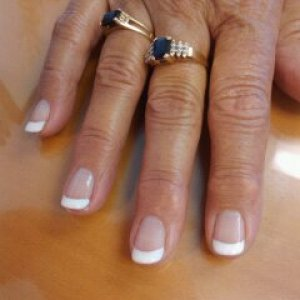 Shellac Clearly Pink and Cream Puff on THICK natural nails.