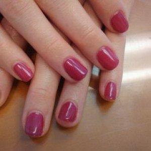 Shellac Rose Bud and Hot Chilis on natural nails.