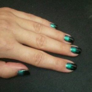 Shellac Black Pool and Iced Coral flames on natural nails.
