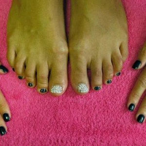 Black l&p and crystals on fingers and black Shellac and crystals on toes