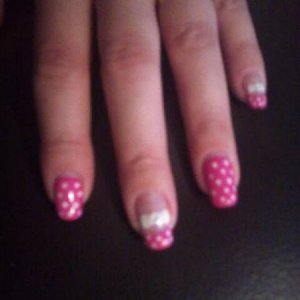 My 1 week old Towie nails using hot pop pink and cream puff shellac.