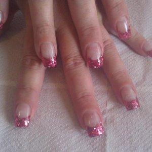 dusky pink chunky glitter x