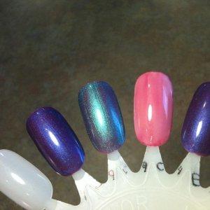Tutti Frutti layered with: Purple Purple Hotski to Tchotchke Studio White Hot Chilis layered with Purple Purple