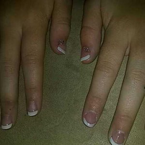 School nails - my first attempt at acrylic and white tips. done on my 13yro
