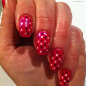 tutti-frutti with fedora & cream puff dots