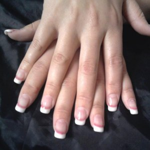 Natural tips with a French Gel overlay.