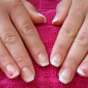 White tips with a gel overlay.