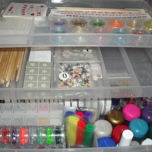 Some of my nail art supplies, excluding my 60 glitters! xx