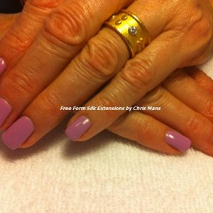 Free form silk extensions over weak paper thin natural nails.  