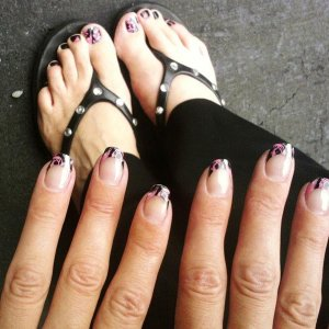 Wrap on fingers with Shellac. Lasted two weeks Wrap on big toe the rest I painted to go with it