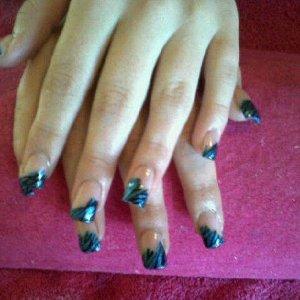Acrylic Extensions wiv blue zebra nail art