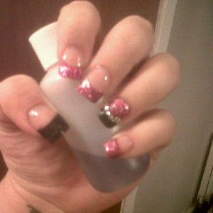 Pink and Black Glitter Acrylics