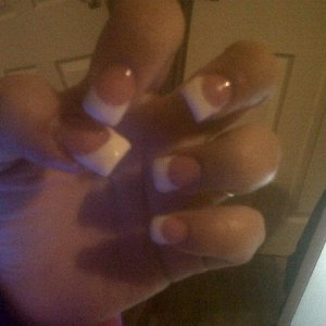 Pink Glitter and white Acrylic's