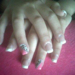 White Tip Acrylics wiv Pink/Zebra Nail Art