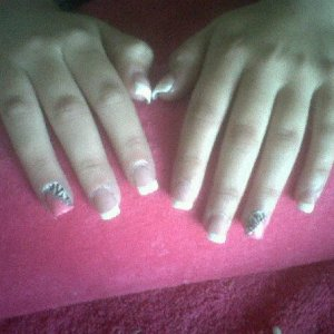 White Tip Acrylics with Pink/Zebra Nail Art
