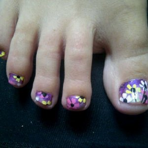 purple to pink gradient with multi coloured flowers *Robin Moses Inspired Design*