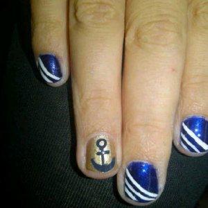 Navy Sailor fancy dress nails
