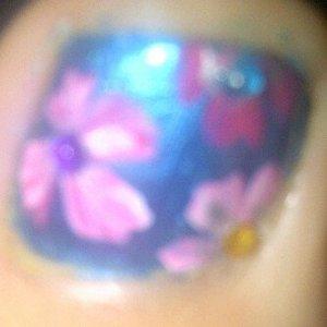 blue with pink flowers n multi col rhinestones