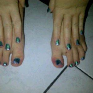 matchin jade green pedi mani