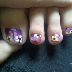 purple to pink polish with flowers   robin moses inspired