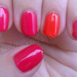 Gelish Gossip Girl with Gelish Tiger Blossom on the ring finger