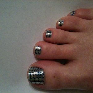 silver with blue dots minx