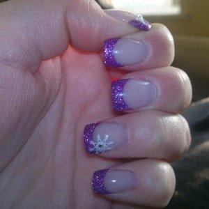 Purple Glitter Enhancements with Konad snow flake an swarovski crystals
